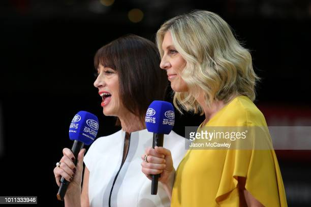 Anne Sargeant and Catherine Cox commentate during the round 14 Super Netball match between the Giants and the Fever at International Convention...