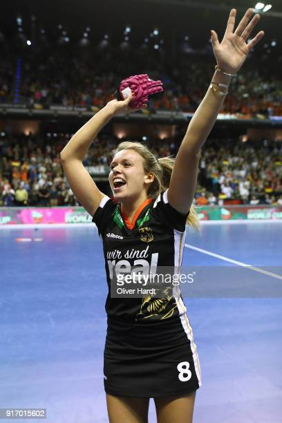 Anne Schroeder of Germany celebrate after the Women Gold Medal Indoor Hockey World Cup Berlin Final Day match between Germany and Netherlands on...