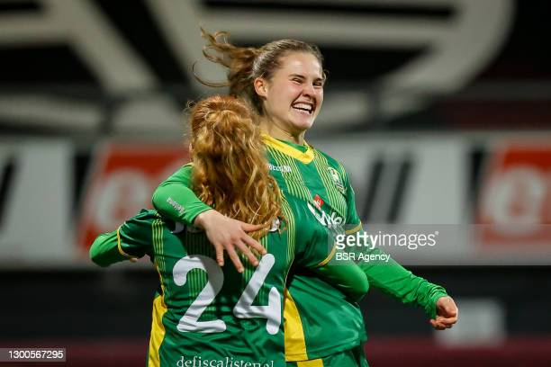 Anne Sellies of ADO Den Haag celebrates a goal with teammates during the Womens TOTO KNVB Beker match between Excelsior and ADO Den Haag at Van Donge...