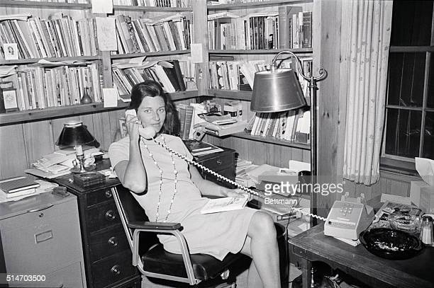 Anne Sexton talks on the phone in her office after winning the Pulitzer Prize for her book of poetry Liver or Die 1967