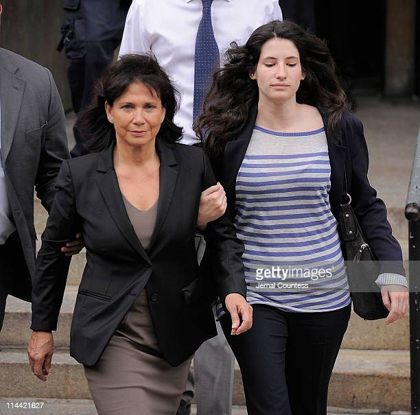 Anne Sinclair wife of IMF Director Dominique StraussKahn and her daughter Camille StraussKahn depart Manhattan Criminal Court following the Hearing...