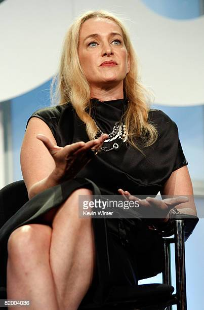 Anne Slowey of Stylista speaks during the CW portion of the Television Critics Association Press Tour held at the Beverly Hilton hotel on July 19...