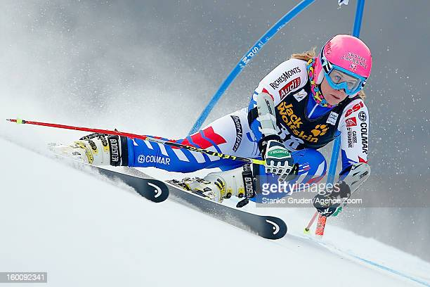 Anne Sophie Barthet of France competes during the Audi FIS Alpine Ski World Cup Women's Giant Slalom on January 26 2013 in Maribor Slovenia