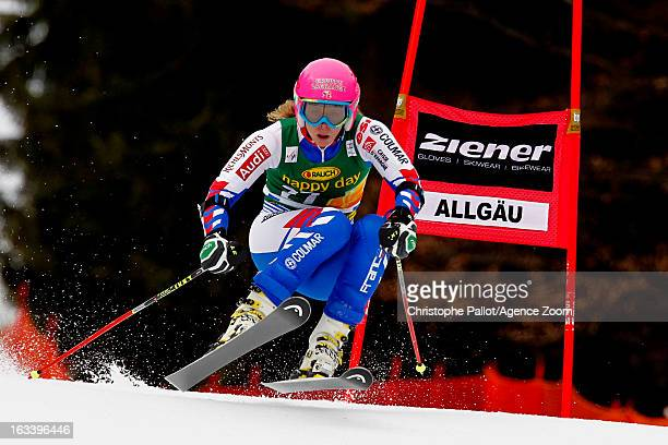 Anne Sophie Barthet of France competes during the Audi FIS Alpine Ski World Cup Women's Giant Slalom on March 9 2013 in Ofterschwang Germany
