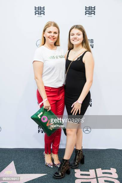 Anne Sophie Briest and her daughter Faye Montana arrive to attend the Riani Fashion Show during the Mercedes Benz Fashion Week at ewerk in Berlin...