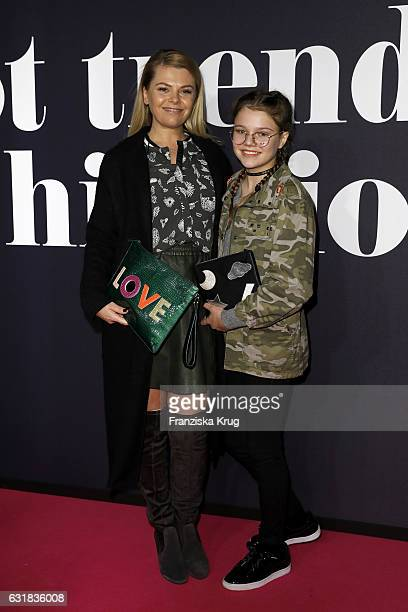 Anne Sophie Briest and her daughter Faye Montana attend the Maybelline Hot Trendsxhibition 2017 show during the MercedesBenz Fashion Week Berlin A/W...