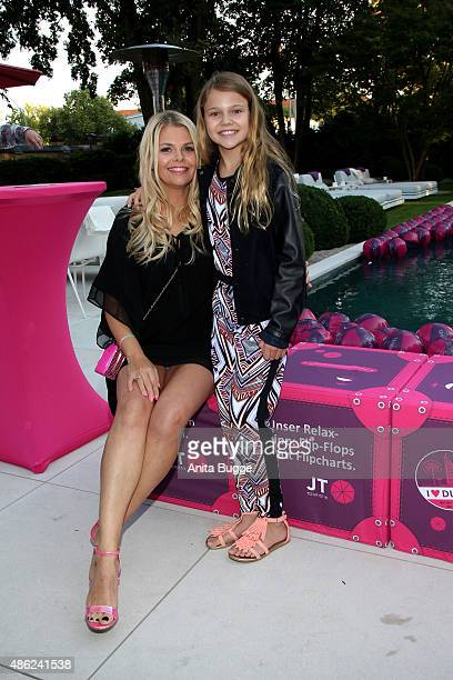 Anne Sophie Briest and her daughter Faye Montana attend the JT Tourism BBQ Party at 'Pink Villa' on September 2, 2015 in Berlin, Germany.