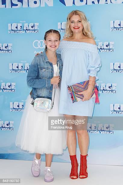 Anne Sophie Briest and her dougther Faye Montana Briest attend the 'Ice Age Kollision Voraus' German Premiere at CineStar on June 26 2016 in Berlin...