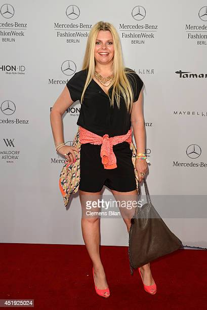 Anne Sophie Briest attends the Guido Maria Kretschmer show during the MercedesBenz Fashion Week Spring/Summer 2015 at Erika Hess Eisstadion on July 9...