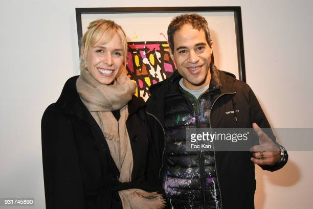 Anne Sophie Kamar and JonOne attend ÔBirth of The WindÕ JonOne Preview at Galerie Brugier Rigail on March 13 2018 in Paris France