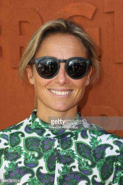 Anne Sophie Lapix is spotted at Roland Garros on June 11 2017 in Paris France