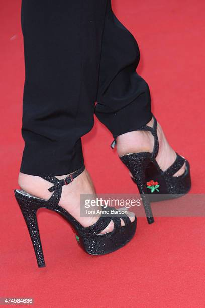 Anne Sophie Lapix shoe detail attends the 'Macbeth' premiere during the 68th annual Cannes Film Festival on May 23 2015 in Cannes France