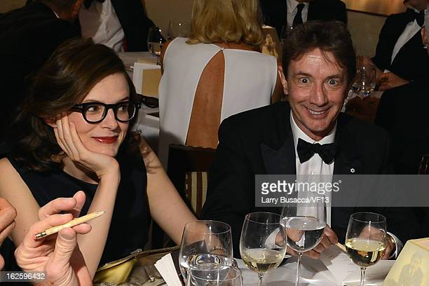 Anne Stringfield and actor Martin Short attend the 2013 Vanity Fair Oscar Party hosted by Graydon Carter at Sunset Tower on February 24 2013 in West...