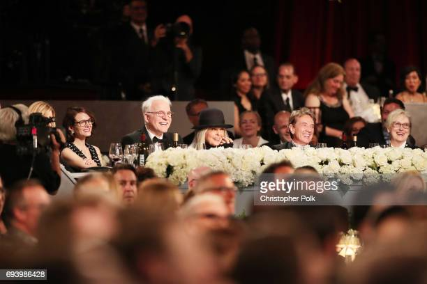 Anne Stringfield comedian Steve Martin honoree Diane Keaton comedian Martin Short and actor Meryl Streep during American Film Institute's 45th Life...