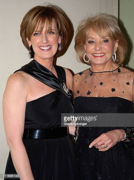 Anne Sweeney and TV Personality Barbara Walters attend The Broadcasters Foundation Of America 'Golden Mike' Fundraiser on February 25 2008 in New...