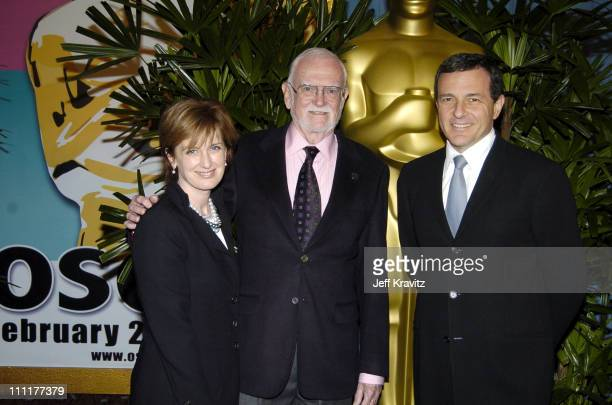 Anne Sweeney Frank Pierson and Robert Iger during The 77th Annual Academy Awards Nominees Luncheon at Beverly Hilton Hotel in Beverly Hills...