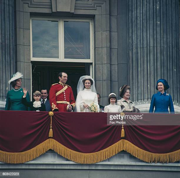 Anne, the Princess Royal and Mark Phillips pose on the balcony of Buckingham Palace in London, UK, after their wedding, 14th November 1973. Also...