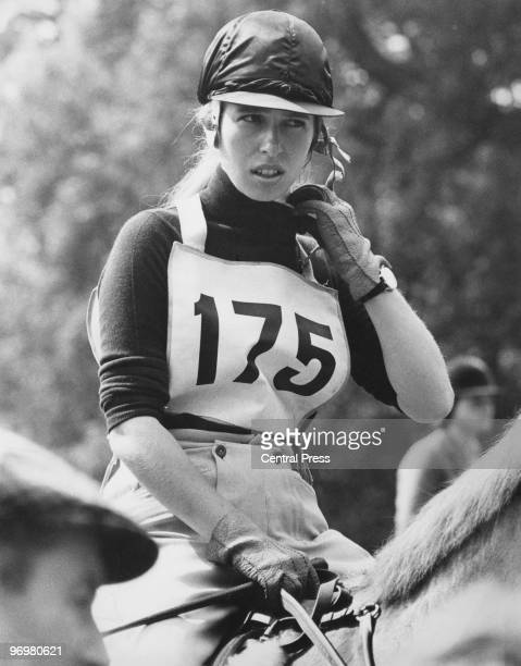 Anne the Princess Royal competes in the crosscountry section of the Eridge Horse Trials East Sussex 21st August 1971 She is riding Doublet