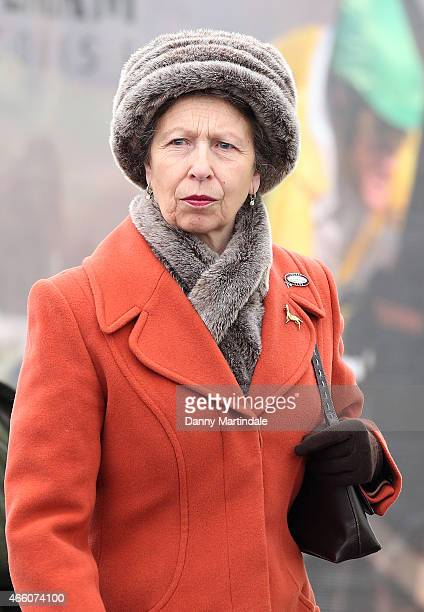 Anne The Princess Royal during day 4 of the Cheltenham Festival at Cheltenham Racecourse on March 13 2015 in Cheltenham England