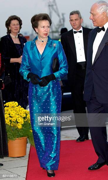 Anne, The Princess Royal In A Silk Evening Dress And Jacket For A Dinner At The Royal Victoria Dock In East London For Supporters Of The Princess...