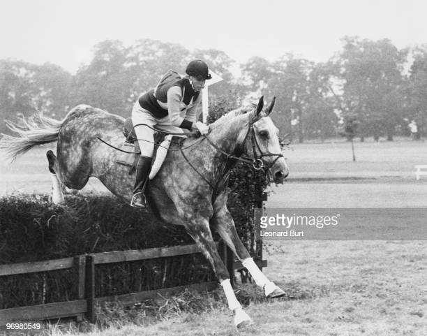 Anne the Princess Royal takes a fence during the speed and endurance section of the Burghley Horse Trials Lincolnshire 23rd September 1972 She is...