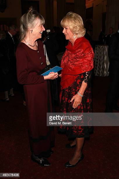 Anne Tyler and Camilla Duchess of Cornwall attend the 2015 Man Booker Prize winners reception at The Guildhall on October 13 2015 in London England