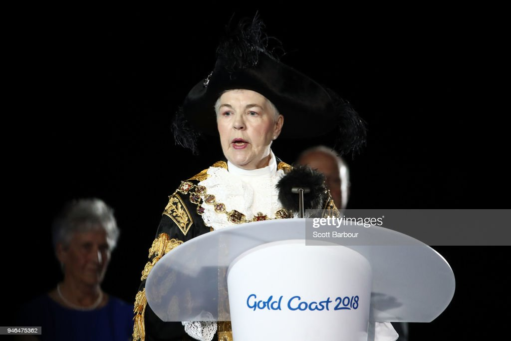 Anne Underwood, Lord Mayor of Birmingham makes a speech during the Closing Ceremony for the Gold Coast 2018 Commonwealth Games at Carrara Stadium on April 15, 2018 on the Gold Coast, Australia.
