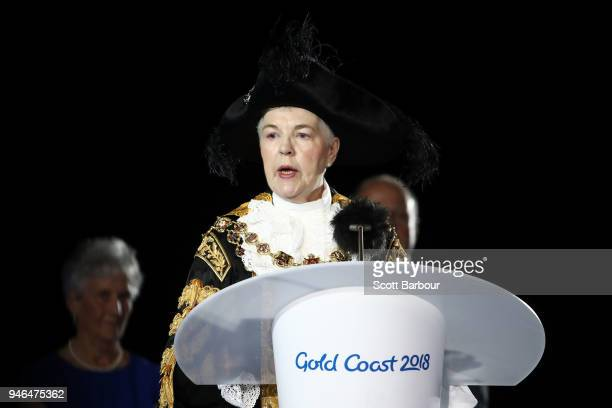 Anne Underwood Lord Mayor of Birmingham makes a speech during the Closing Ceremony for the Gold Coast 2018 Commonwealth Games at Carrara Stadium on...
