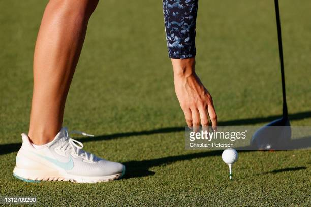 Anne van Dam of Netherlands places her ball on the first hole during the second round of the LPGA LOTTE Championship at Kapolei Golf Club on April...