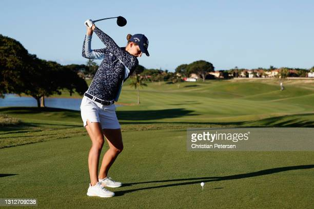 Anne van Dam of Netherlands plays a tee shot on the first hole during the second round of the LPGA LOTTE Championship at Kapolei Golf Club on April...
