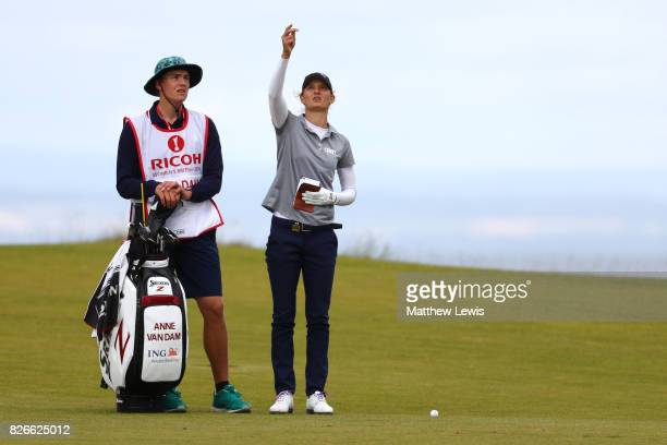 Anne Van Dam of the Netherlands checks the wind on the 4th hole during the third round of the Ricoh Women's British Open at Kingsbarns Golf Links on...