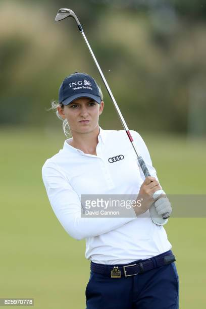 Anne Van Dam of the Netherlands hits her second shot on the 18th hole during the first round of the Ricoh Women's British Open at Kingsbarns Golf...