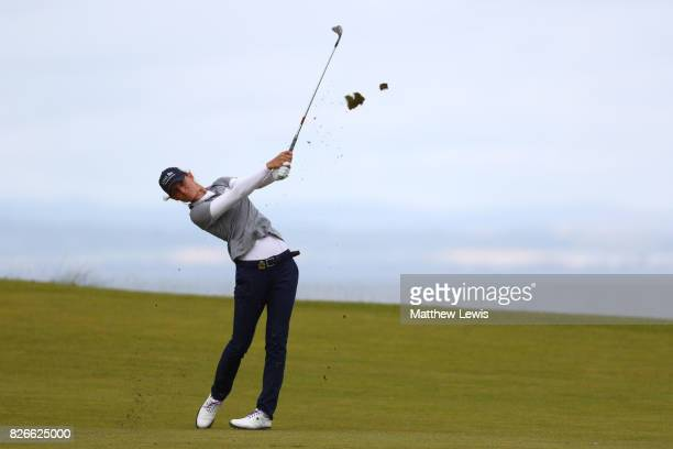 Anne Van Dam of the Netherlands hits her second shot on the 4th hole during the third round of the Ricoh Women's British Open at Kingsbarns Golf...