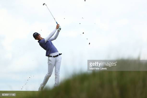 Anne Van Dam of the Netherlands hits her second shot on the 4th hole during the final round of the Ricoh Women's British Open at Kingsbarns Golf...