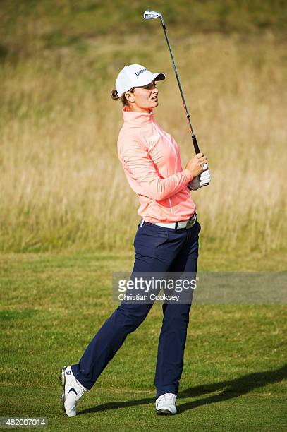 Anne Van Dam of the Netherlands plays her 2nd shot on the 1st hole during her final round of the Aberdeen Asset Management Scottish Ladies Open at...