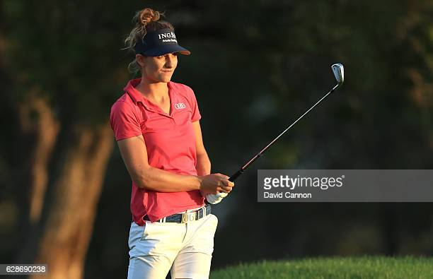 Anne Van Dam of The Netherlands plays her second shot on the 10th hole during the delayed second round of the 2016 Omega Dubai Ladies Masters on the...