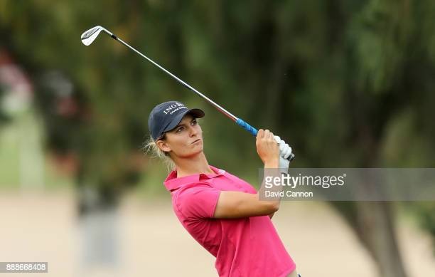 Anne Van Dam of The Netherlands plays her second shot on the par 4 first hole during the final round of the 2017 Dubai Ladies Classic on the Majlis...