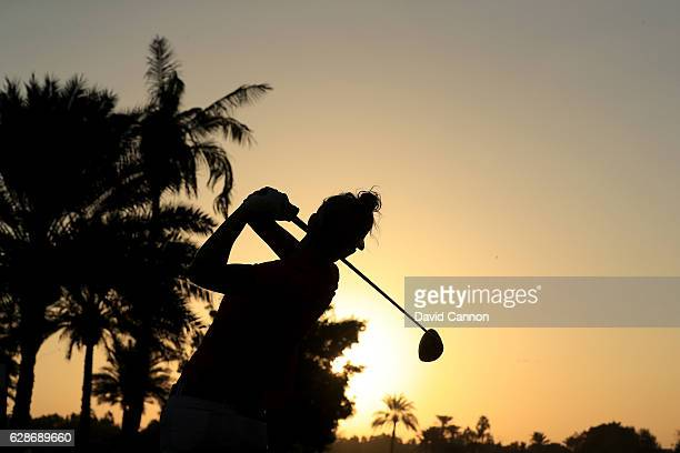 Anne Van Dam of The Netherlands plays her tee shot on the 10th hole during the delayed second round of the 2016 Omega Dubai Ladies Masters on the...