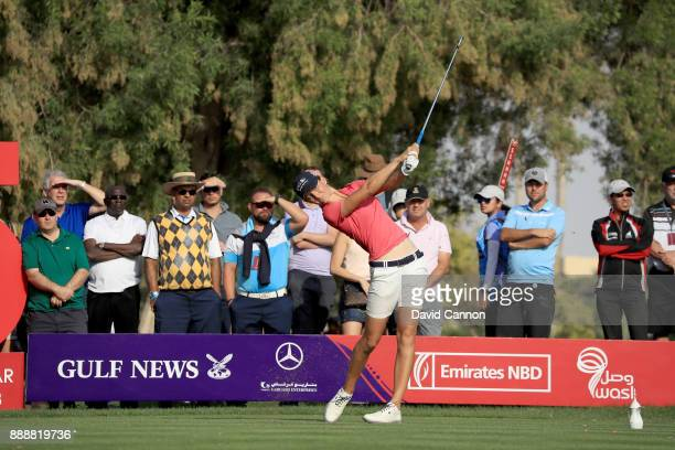 Anne Van Dam of The Netherlands plays her tee shot on the 15th hole during the final round of the 2017 Dubai Ladies Classic on the Majlis Course at...