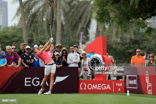 Anne Van Dam of The Netherlands plays her tee shot on the first hole during the final round of the 2017 Dubai Ladies Classic on the Majlis Course at...