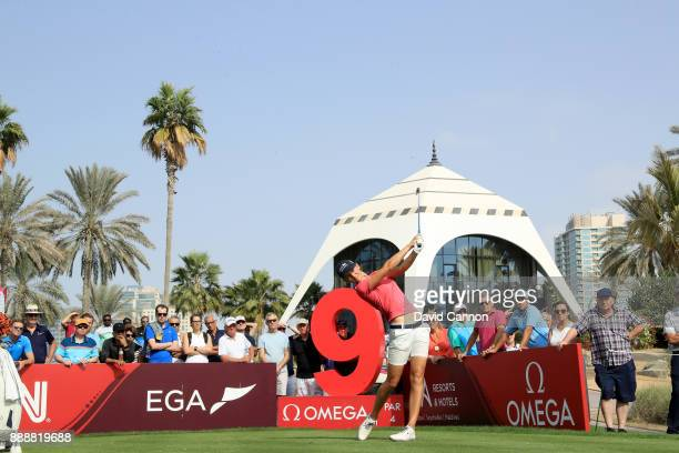 Anne Van Dam of The Netherlands plays her tee shot on the ninth hole during the final round of the 2017 Dubai Ladies Classic on the Majlis Course at...