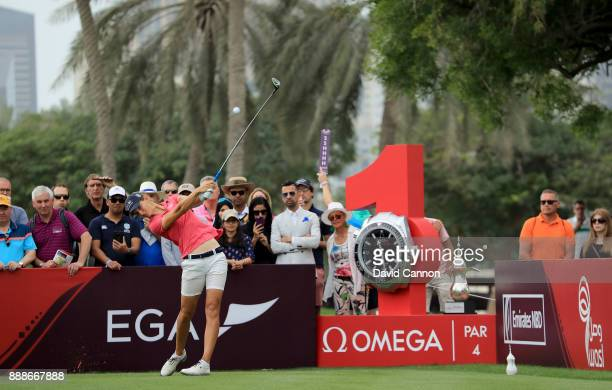Anne Van Dam of The Netherlands plays her tee shot on the par 4 first hole during the final round of the 2017 Dubai Ladies Classic on the Majlis...