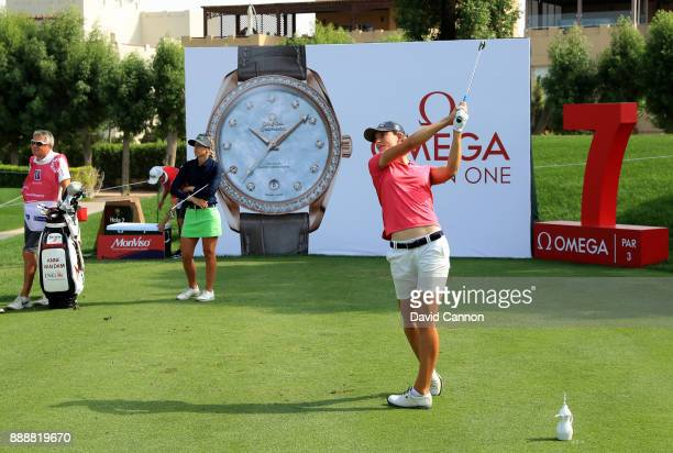 Anne Van Dam of The Netherlands plays her tee shot on the seventh hole during the final round of the 2017 Dubai Ladies Classic on the Majlis Course...