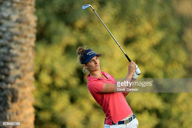 Anne Van Dam of The Netherlands plays her third shot on the 10th hole during the delayed second round of the 2016 Omega Dubai Ladies Masters on the...