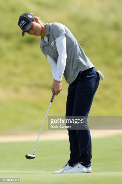 Anne Van Dam of the Netherlands putts on the 1st green during the third round of the Ricoh Women's British Open at Kingsbarns Golf Links on August 5...