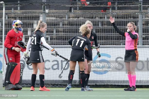 Anne Veenendaal of Amsterdam Dames 1 Lauren Stam of Amsterdam Dames 1 Maria Verschoor of Amsterdam Dames 1 during the Hoofdklasse Women match between...