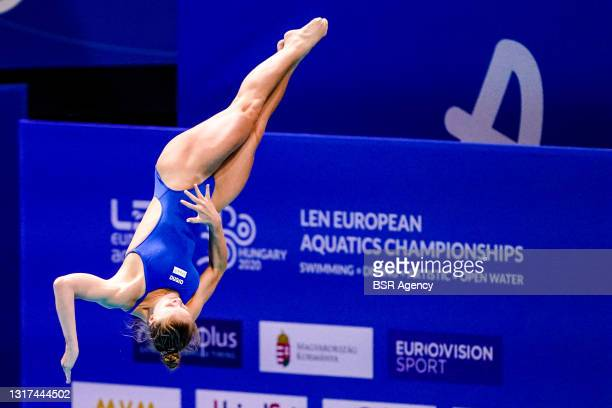 Anne Vilde Tuxen of Norway competing at the Team Event Preliminary during the LEN European Aquatics Championships 1m Springboard Preliminary at Duna...