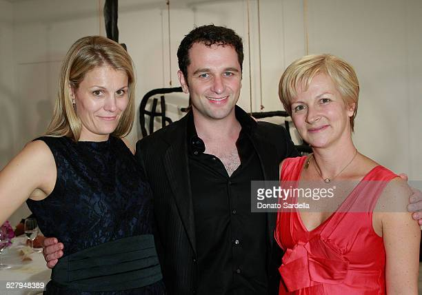 Anne Vincent actor Mattew Rhys and Sarah Geary attend the Vogue and Mulberry Host Dinner to Celebrate Alexandra Grant Exhibition on September 23 2008...