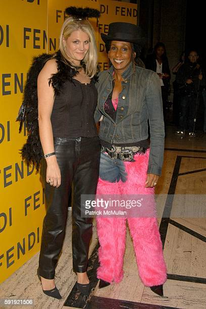 Anne Vincent and Renee Cox attend FENDI 80th ANNIVERSARY All Hallow's Eve Party hosted by KARL LAGERFELD at 25 Broadway on October 29 2005 in New...