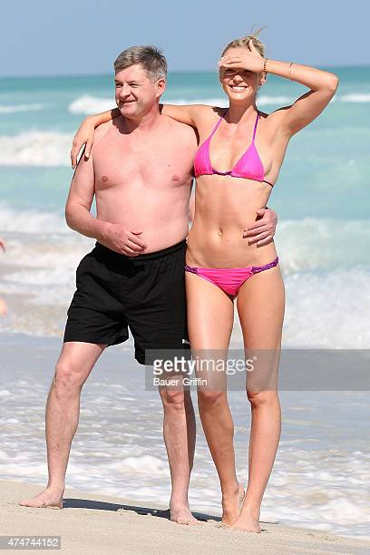 Anne Vyalitsyna aka Anne V and her father are seen at the beach on November 26 2012 in Miami Florida